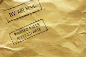 Letter envelope with air mail stamp — Stock Photo