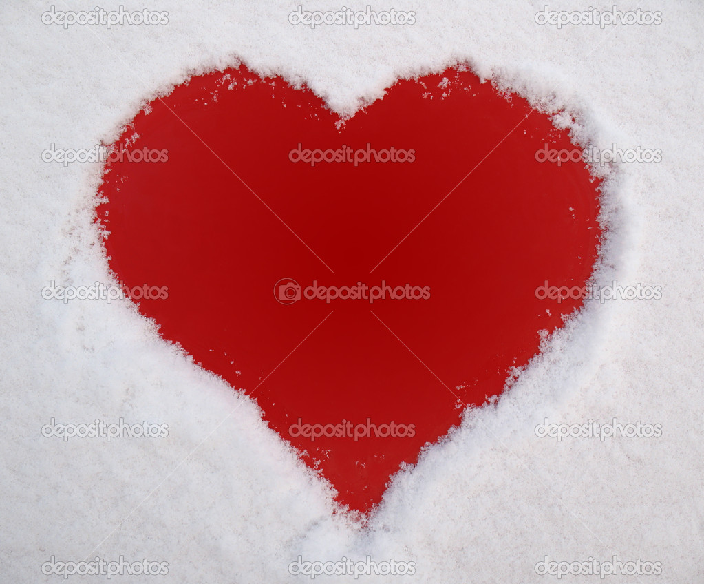 Red heart and white snow — Stock fotografie #1637888