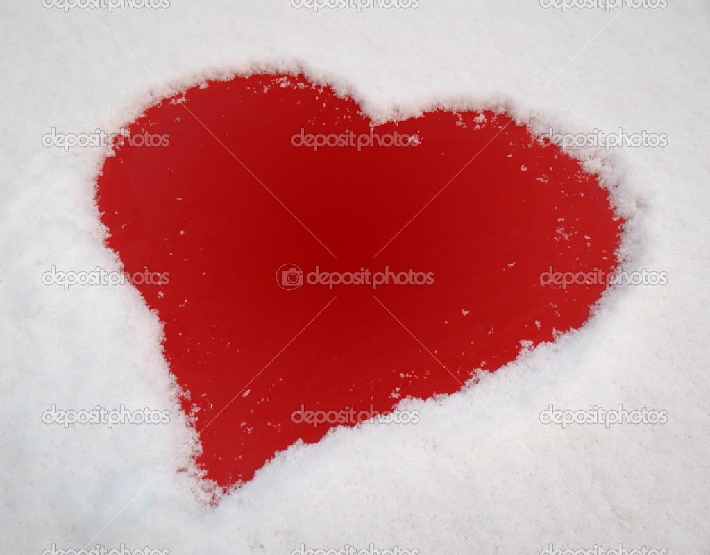 Red heart and white snow — Stock Photo #1637892