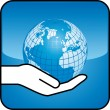 Hand and globe - Stock Vector
