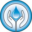 Waterdrop and hands — Stock Vector