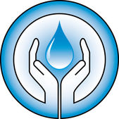 Waterdrop and hands — Vector de stock
