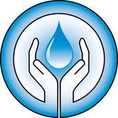 Gota de agua y las manos — Vector de stock