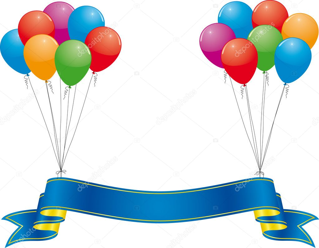 Celebration banner and colorful balloon — ベクター素材ストック #1637814