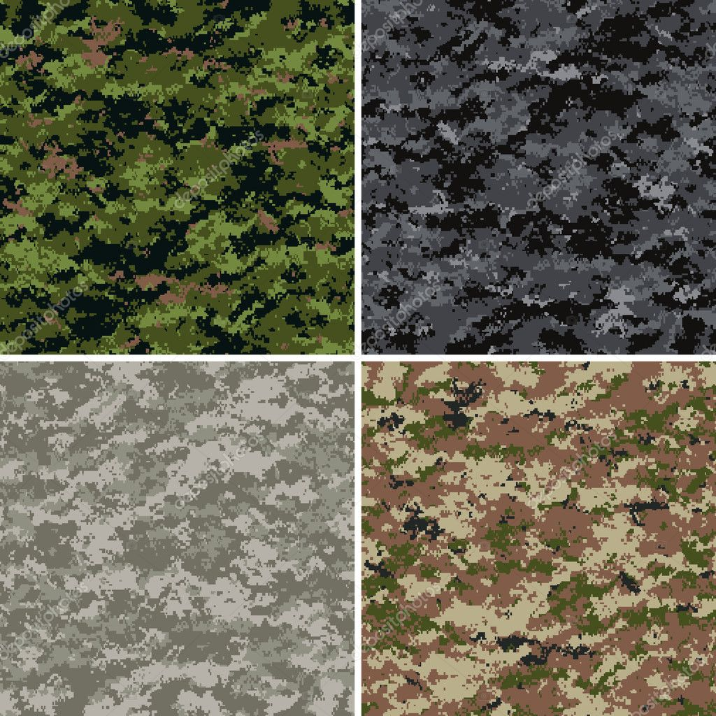 Digital camouflage seamless patterns (forest, urban, universal and disert colors) — Stock Vector #1637875