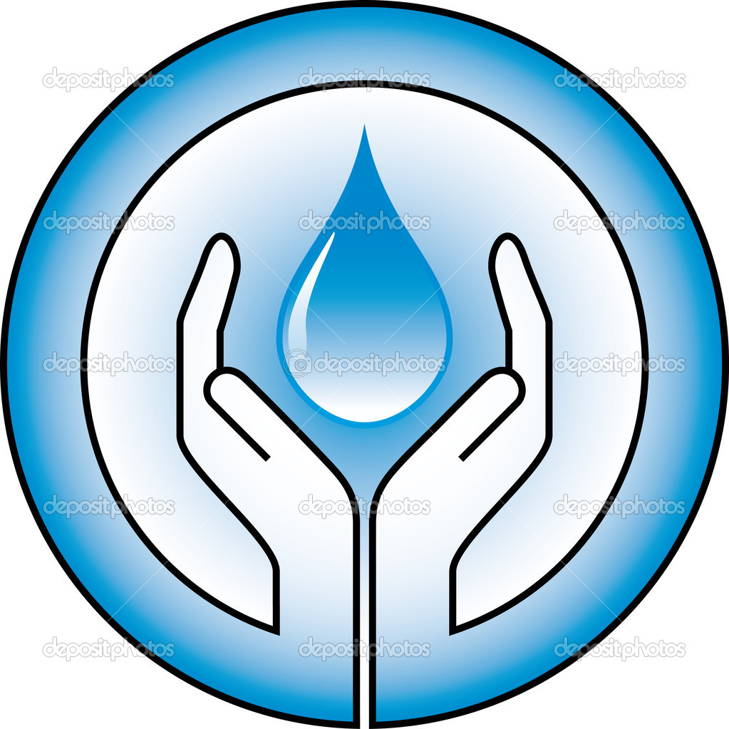 Waterdrop and hands — Stock Vector #1637992