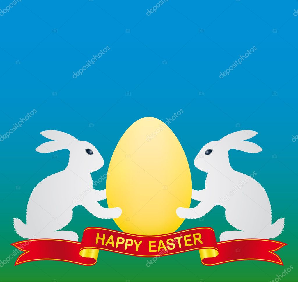 White easter bunny and gold easter egg — Stock Vector #1689201