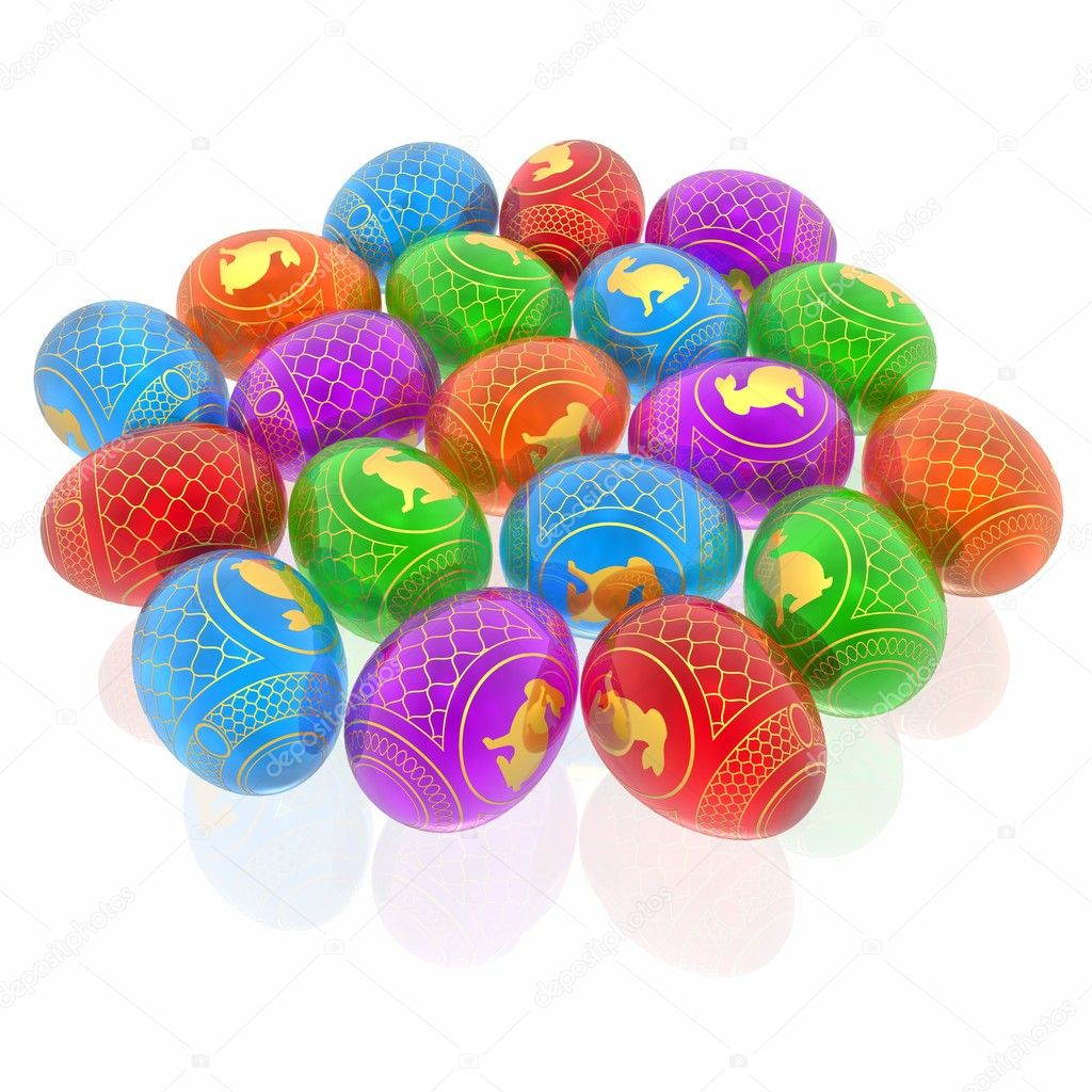 Vivid easter eggs background with rabbit silhouette and gold ornament — Stock Photo #1738608
