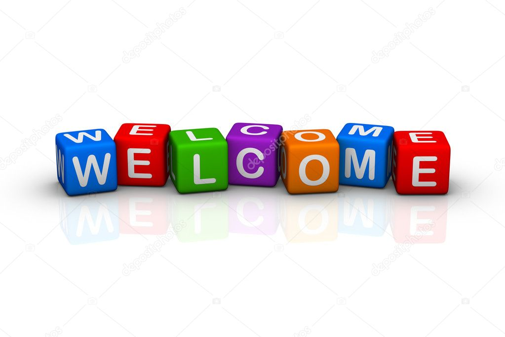 Welcome (colorful buzzword cubes series) — Stok fotoğraf #2514622