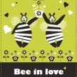 Floral card bee in love - Stock Vector