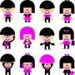 Vector Cartoon emo children icons - Stock Vector