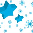 Vector Blue Star and Snow — 图库矢量图片 #1668396