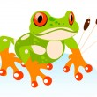 Vector Cute Cartoon Friendly Frog — Stock Vector