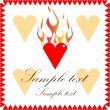 Flaming Heart Card - Stock Vector