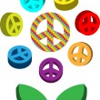 Royalty-Free Stock Vector Image: Peace symbols, pacifism logo flower