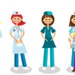 Happy doctors with healthy kid — Stock Vector