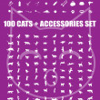 Great 100 cats and accessories — Stok Vektör