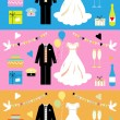 Wedding icons set, wedding card, - Stock Vector