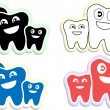 Happy teeth family icons, emblem, — Stock Vector