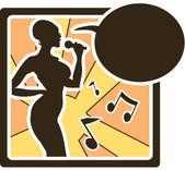 Karaoke woman logo — Stock Vector