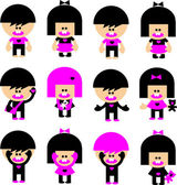 Vector Cartoon emo children icons — Stock Vector