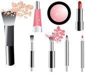 Vector make-up icons set- brushes — Stock Vector