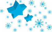 Vector Blue Star and Snow — Stock Vector