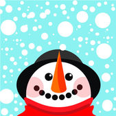 Vector snowman Christmas background — Vettoriale Stock