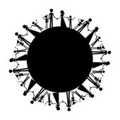 All families in the world silhouette — Stock Vector