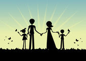年轻家庭剪影,日落矢量 — 图库矢量图片