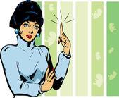 Frau achtet — Stockvektor