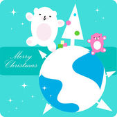 Vector xmas dancing Polar Bear family — Stock Vector