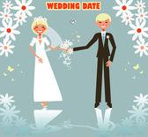 Wedding card, flowers love logo — Stock Vector
