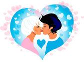 Vector Couple kiss in heart frame — Stock Vector