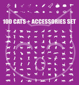 Great 100 cats and accessories — Stock Vector
