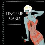 Bielizna karty withsexy kobieta — Wektor stockowy
