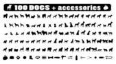 100 honden pictogrammen en honden accessoires — Stockvector