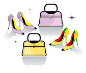 Color stiletto shoes and bag — Stock Vector