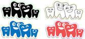 Happy teeth family icons, emblem, — Stock Vector