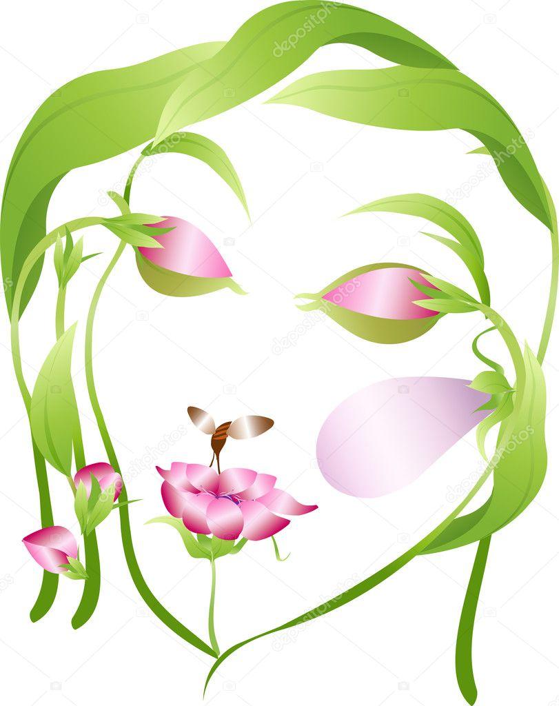 Лицо из цветов