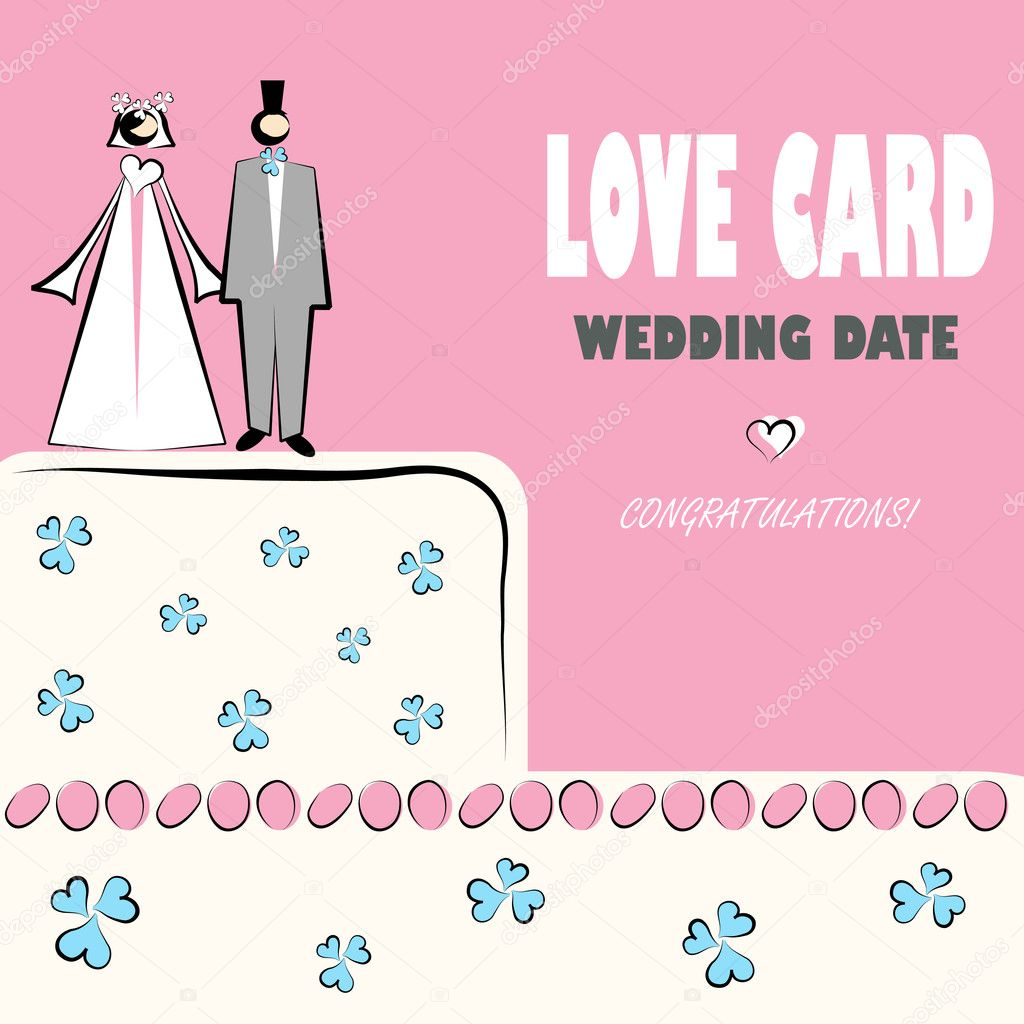 Wedding card, love, congratilations logo. Vector weddings icons with cake and couple  Stock Vector #1668445