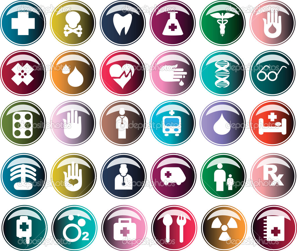 Medical button, shiny icons & warning-signs set 1 — Stock Vector #1668683