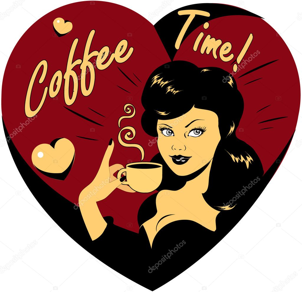 Coffee Lover vector poster with woman and cup of coffee in hand, Coffee time logo heart icon.One of fashion pinup illustrations — Stock Vector #1668740