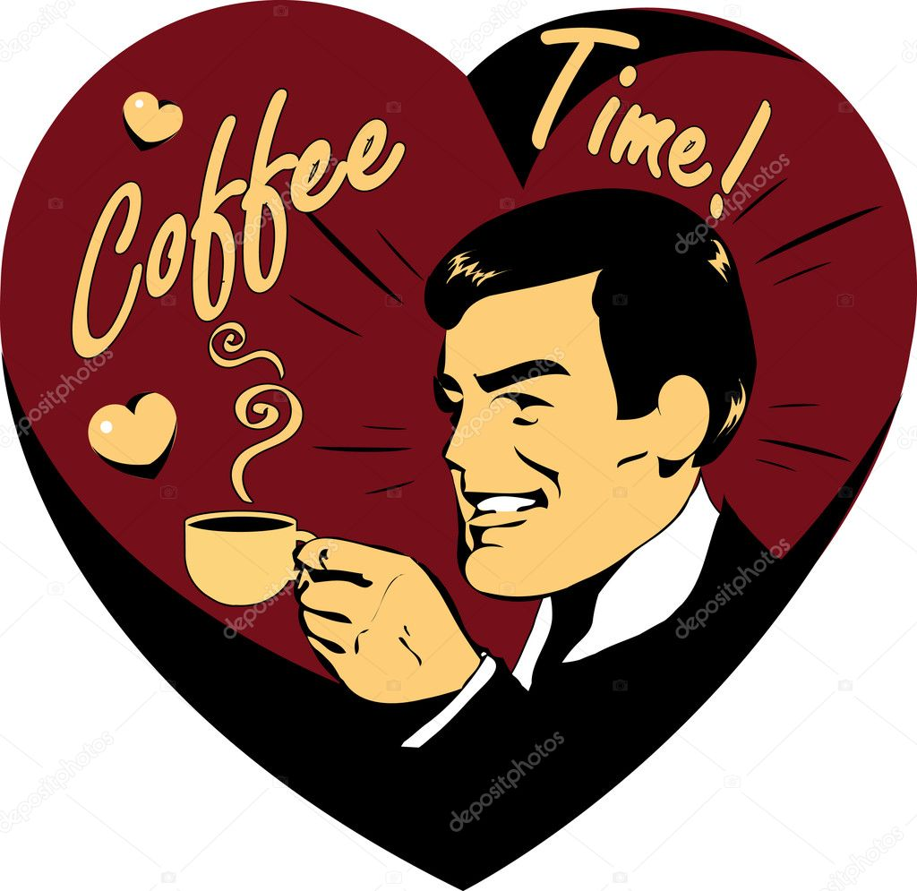 Coffee Lover vector poster with man and cup of coffee in hand, Coffee time logo heart icon.One of fashion pinup illustrations  Stockvectorbeeld #1668844