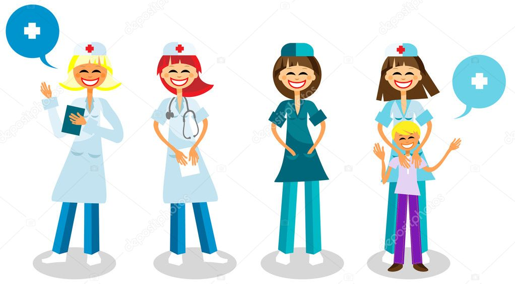 Happy doctors with healthy kid, Medical staff - Vector Surgeon, Doctor logo, Healthcare illustration — Stock Vector #1668846