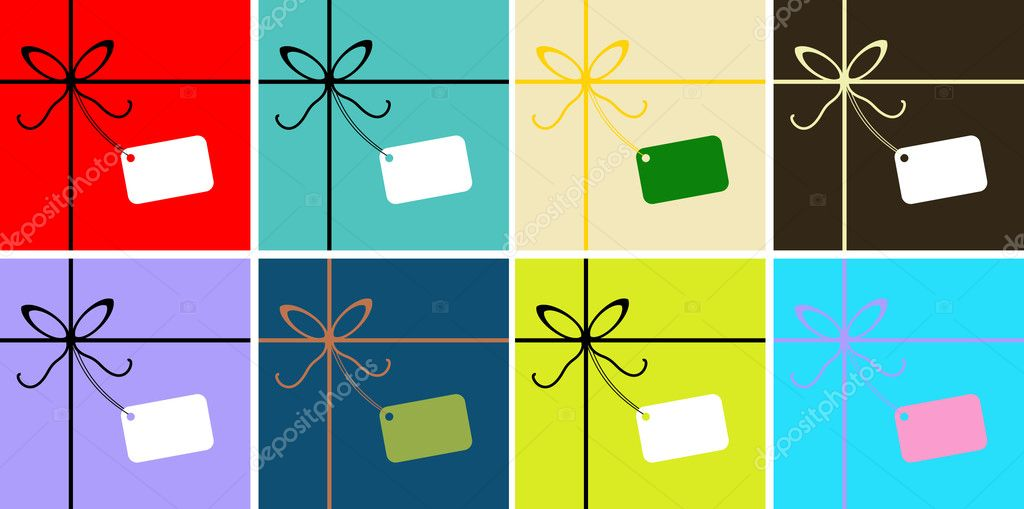 Vector Gift wrapped greetings card, poster, background with Ribbon and tag for text — Vektorgrafik #1668963