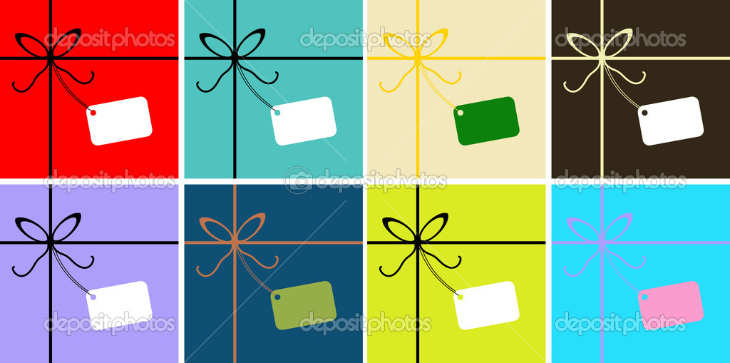 Vector Gift wrapped greetings card, poster, background with Ribbon and tag for text — Векторная иллюстрация #1668963