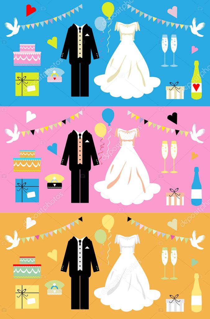 Wedding icons set, wedding card, color vector poster, decor element, web button  Stock Vector #1669212
