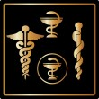 Vector Gold medical card icons - Foto Stock