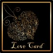 Stock Photo: Gold elegant love heart card